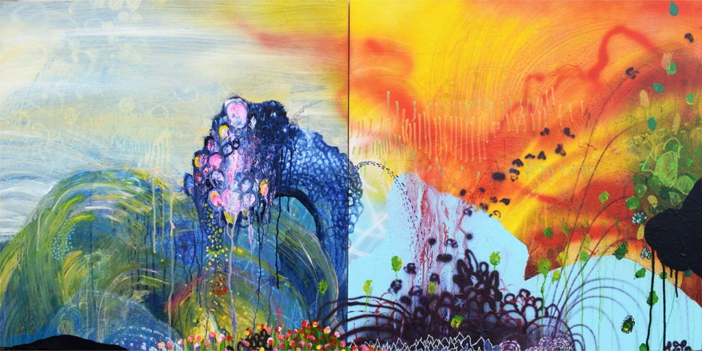 "sky monster, 24x48"" diptych, acrylic on panel"