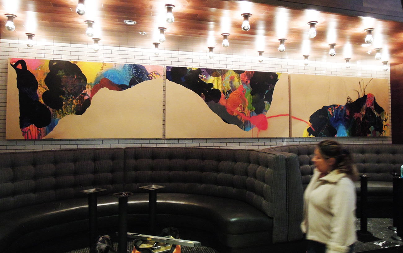 "Install of ""Captain Aquatic-botic and the seismogrophic trifecta"" at Earls Restaurant Downtown Denver, 1600 Glenarm Pl Suite 140 Denver, Colorado"